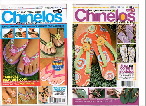 revista chinelos kit c/8 unidades. artesanato chinelos