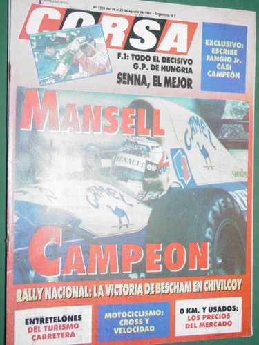 revista corsa 1359 mansell campeon fangio rally bescham senn