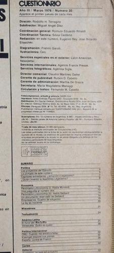 revista cuestionario nro 35 marzo 1976 dictadura argentina