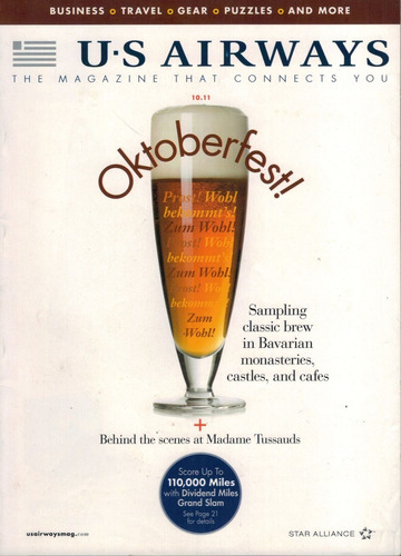 revista de bordo da us airways: oktoberfest / museu de cera