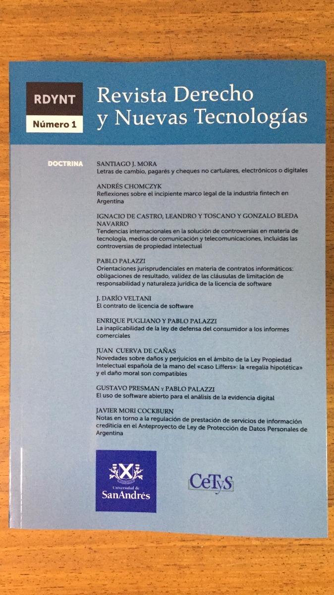 Revista De Derecho Y Nuevas Tecnologias N 1 - Palazzi - Ldj - $ 700 ...