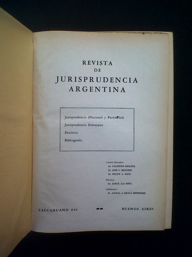 revista de jurisprudencia argentina, infante-miguens-espil