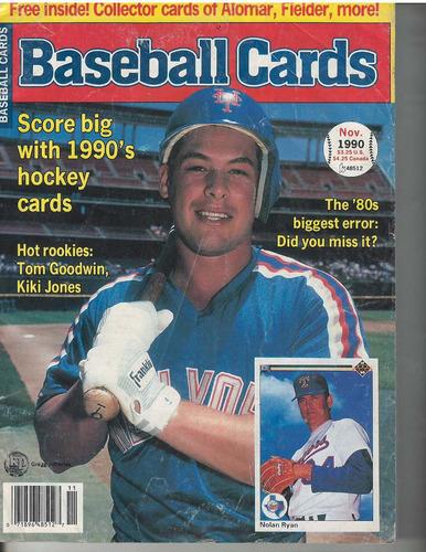 revista de precios de tarjetas baseball cards noviembre 1990