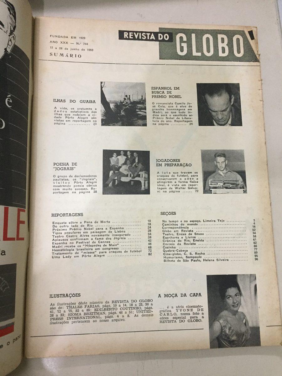 4cc36ac38 Revista Do Globo Nº 744 Ano Xxx 13 A 26 Junho 1959 - R$ 30,00 em ...