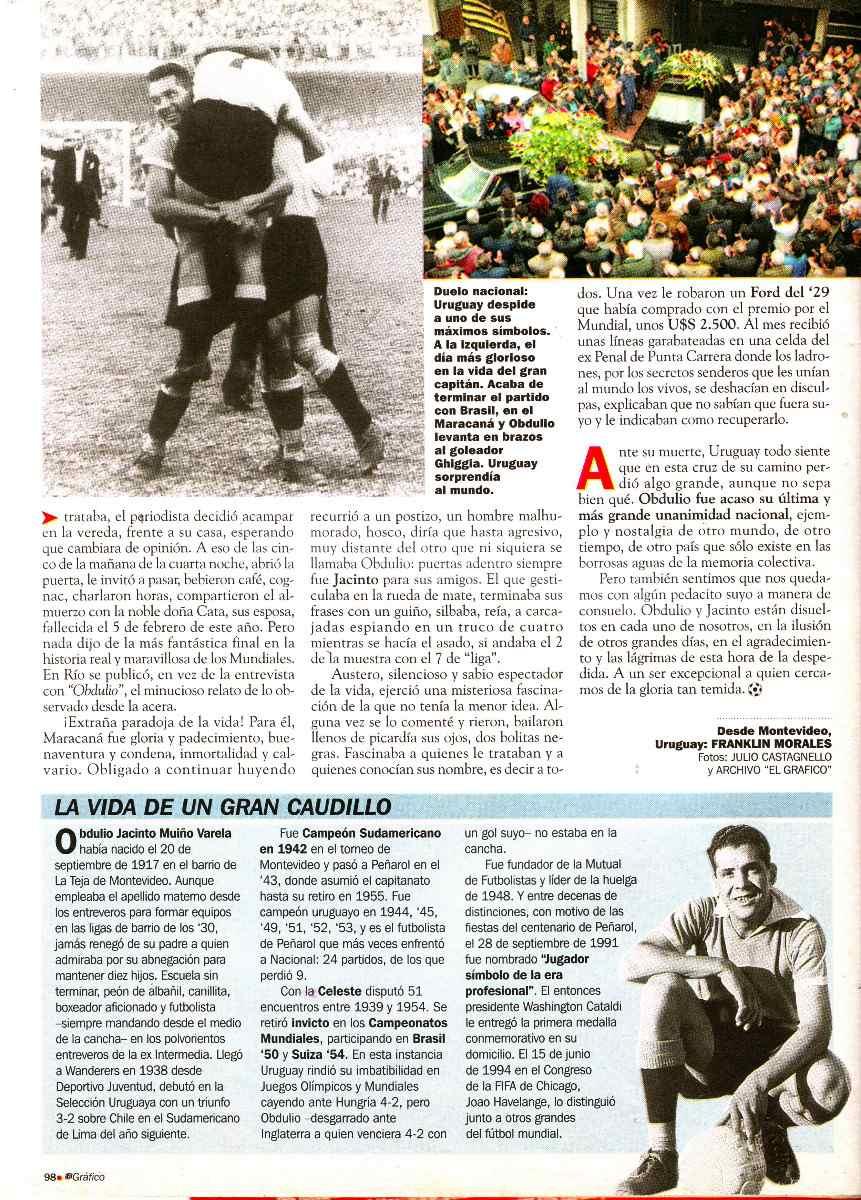 Revista El Grafico No 4009 Homenaje A Obdulio Varela 1996 $ 99
