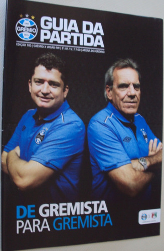 revista grêmio guia da partida 100 2015 vs união f w