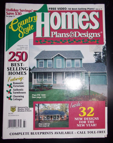 revista homes plans & designs número cs34 janeiro 1994