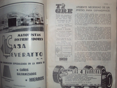 revista independiente dedicada al club atlético tigre - 1986