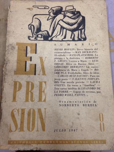 revista literaria expresión - vol. 8 - ed. problemas - 1947