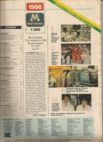 revista manchete 1801 de 1986 - tarcisio meira/monique evans