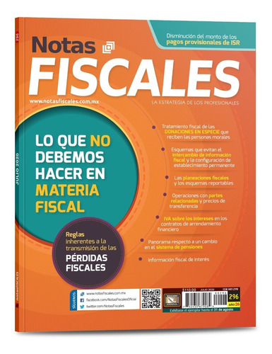 revista notas fiscales 296 julio 2020 formato impreso