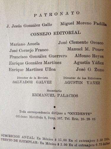revista occidente. josé clemente orozco, agustín yáñez