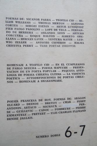 revista orfeo n°6-7, parra, neruda, poesia mapuche - 1964