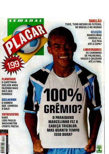 revista placar 100% gremio nº 1177 2001