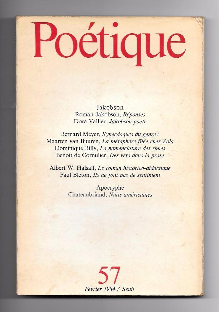 Revista Poétique Nº57 Roman Jakobson 35000