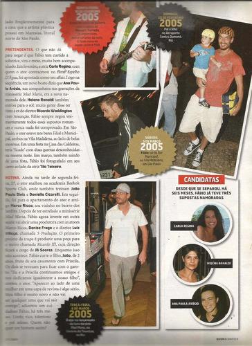 revista quem  251/2005 - fábio assunção - angélica - deborah