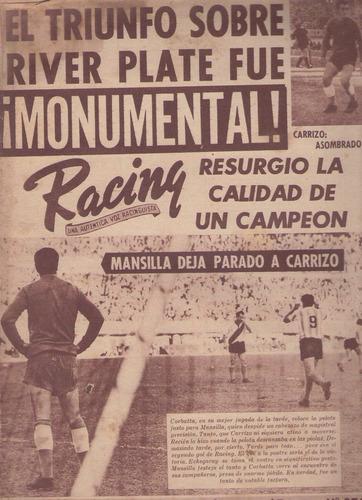 revista / racing / nª 970 / 1962 / el triunfo sobre river