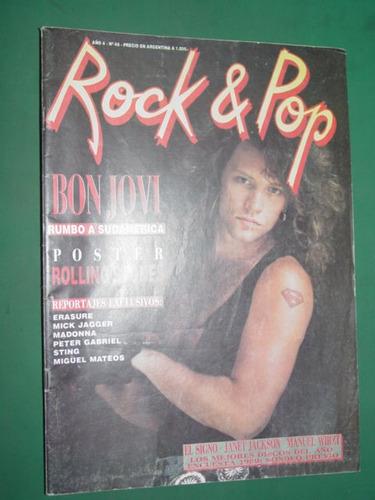 revista rock & pop 46 bon jovi con poster rolling stones