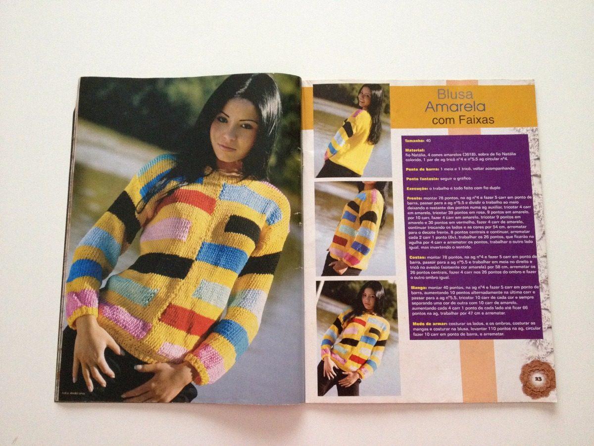Revista Tricô   Crochê Casaco Blusa Rosa Boina Listrada N°10 - R  23 ... 4f47ec340b0