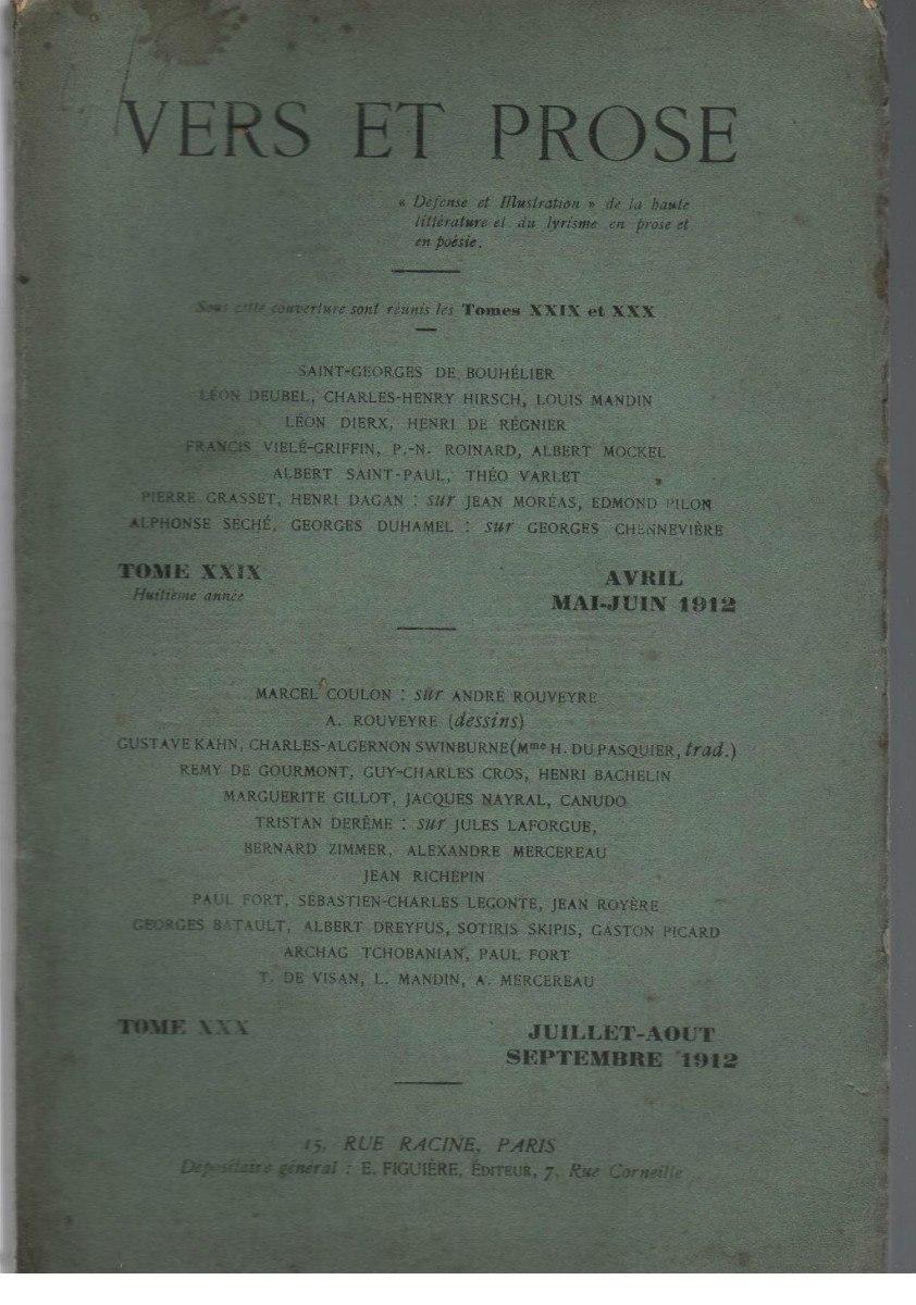 Revista Vers Et Prose N 2930 París 1912 Vanguardia 55000
