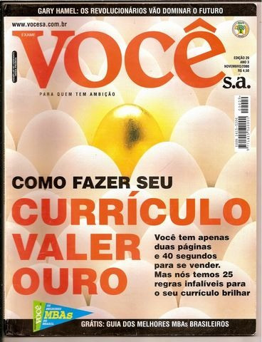 revista você s.a nº 29 - ano nov /2000 -ótima -  heroishq