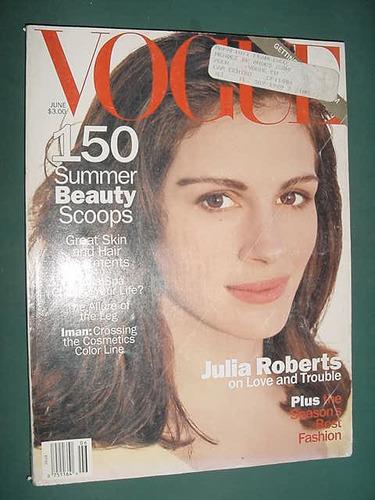 revista vogue 6/94 julia roberts iman summer beauty scoops