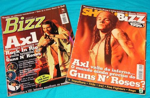revistas showbizz guns n' roses - rock in rio - slash - bizz