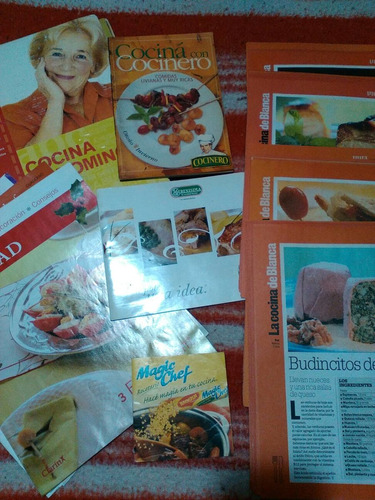 revistas y hojas de recetas