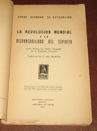 revolución mundial y responsabilidad del espíritu keyserling