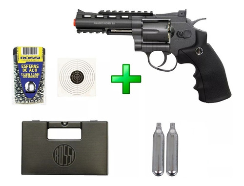 revolver pressão rossi co2 wg 701 4,5mm full metal + brindes