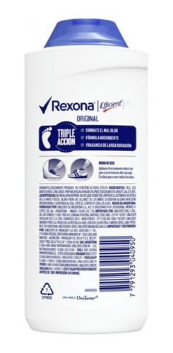 rexona talco polvo original  para pies efficient 100 gr