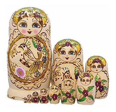 rey y luz 10 piezas de madera muñecas de anidacion ruso mat