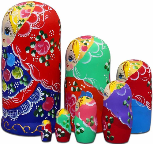 rey y luz pcs red shawl girl nesting dolls russian matr...