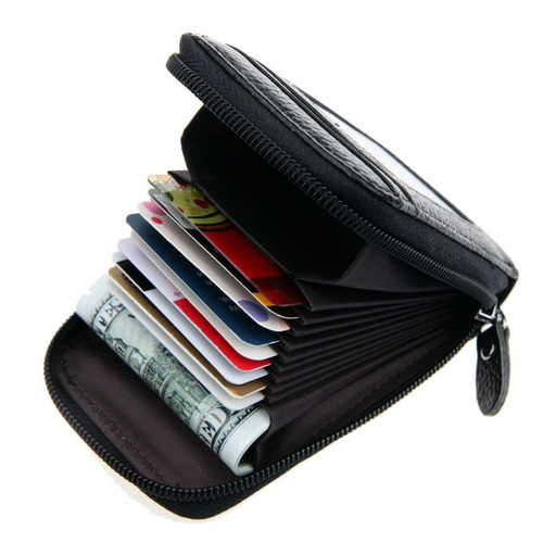 rfid bloqueo de cuero genuino de tarjeta de crédito organiza