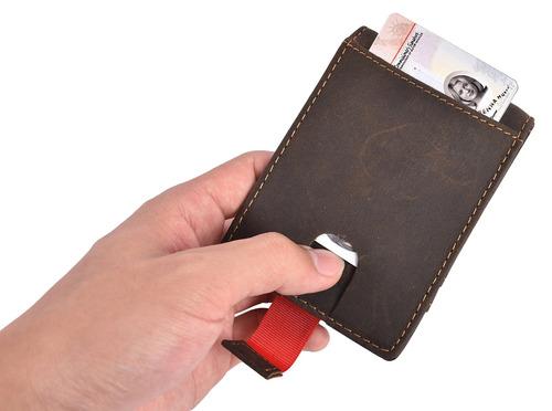 rfid bloqueo hombre delgado bifold bolsillo delantero carter