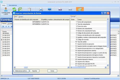 rg 3685 régimen compras y ventas afip - software generar txt