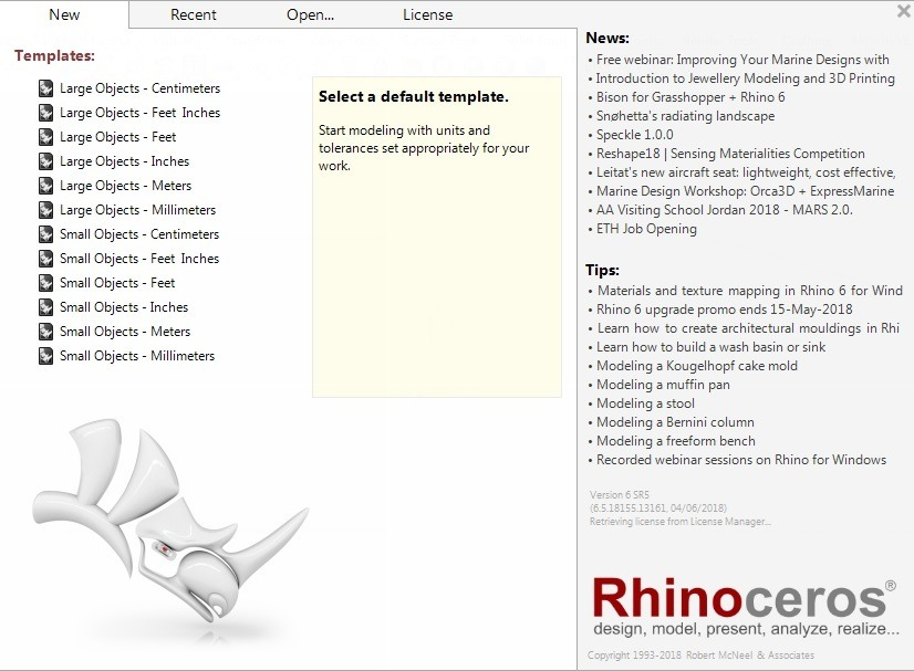 Rhinoceros 2018 V 6 5 (novo) P/ Windows X64 + 160 Modelos