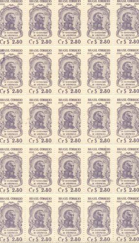 rhm 330 - 4º centenário de são paulo - 1954 -fl com 25 selos