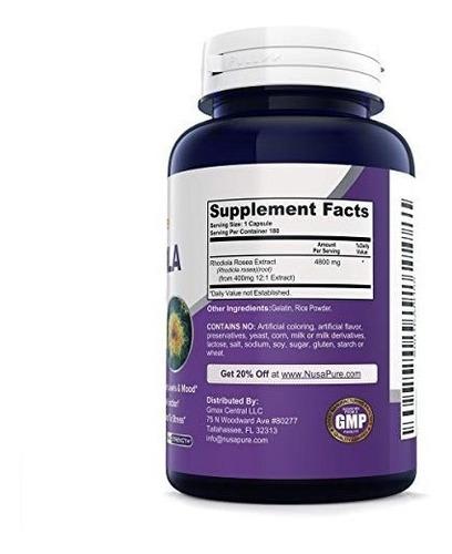rhodiola rosea 4800 mg fuerza máxima alivio estress180 caps