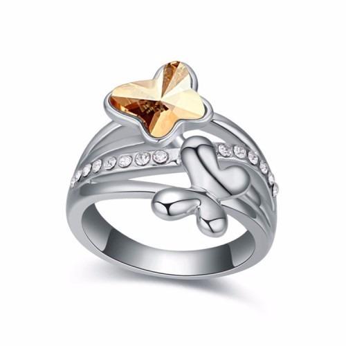 rhodium butterfly ring