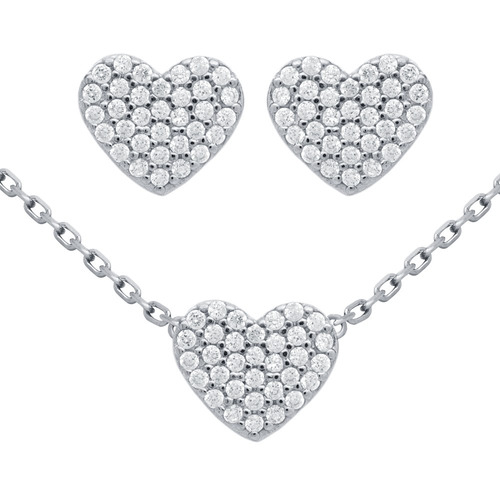 rhodium plated set: heart shaped cz pave earrings & necklace