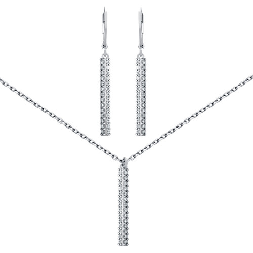 rhodium plated set:cz pave bar earring & necklace