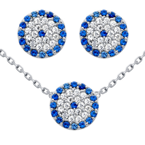 rhodium plated set:disk blue eye cz pave earrings & necklace