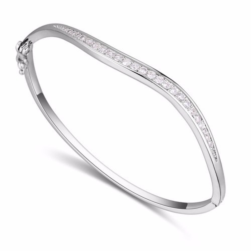 rhodium plated thin bangle