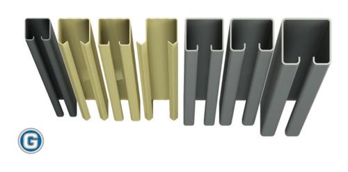 riel para carro roma portón corredizo art 172 gramabi de hierro natural de 45 x 47 x 15 x 1,80 mm. de 6 mt. de largo