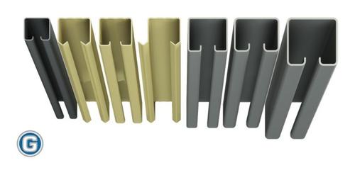 riel para carro roma portón corredizo art 174 gramabi de hierro natural de 60 x 53 x 15 x 2,10 mm. de 6 mt. de largo