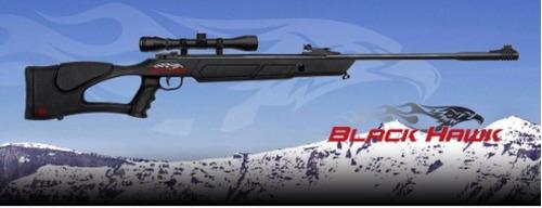 rifle black hawk 7 tiros + mira + extras