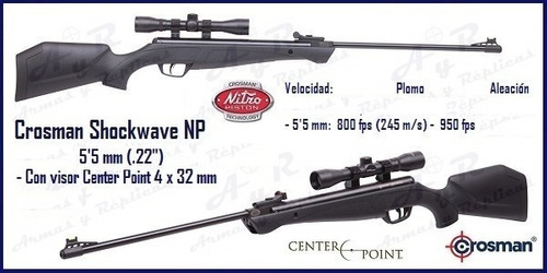 rifle shockwave 5.5 c/mira 4x32 crosman nitropiston free shi