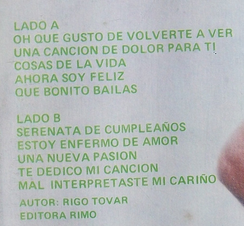 rigo tovar y su costa azul 8. disco l.p. nuevo. melody 1978