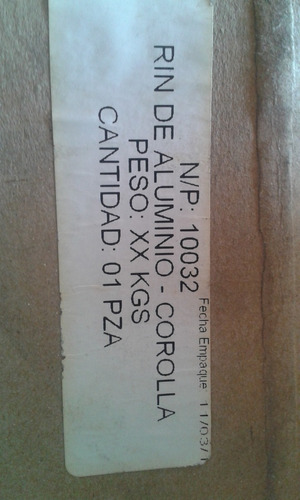 rin de aluminio corolla 2009 2010 2011 2012 2013
